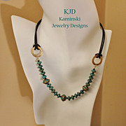Handcrafted Tibetan Turquoise and Brass Large Focal Beads and Mosaic Turquoise on Leather