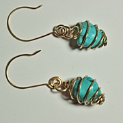 SOLD Wire Wrapped Caged Turquoise Nugget Earrings