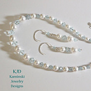 Handcrafted Wedding Bridal Swarovski Graduated White Crystal Pearl and Azore Blue Crystals Sterling Set
