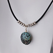 SALE Turquoise Pendant on Black Leather Cord