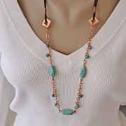 SALE Handcrafted Turquoise on Copper Chain and Brown Leather