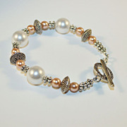 SALE Artisan White and Peach Swarovski Crystal Pearls and Silver Pewter Bracelet