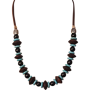 SALE Handcrafted Artisan Turquoise with Sono Wood and Black Onyx on Leather Cord Necklace