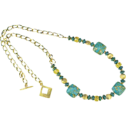 SALE Mosaic Turquoise Citrine and Gold Vermeil Necklace on Gold Chain