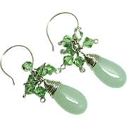 SALE Artisan Sterling Wrapped Light Green Chalcedony Teardrops with Peridot Swarovski Crystals