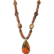 SALE Artisan Picasso Jasper and African Green Opal Beads Silver Necklace