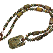 SALE Artisan Multi-Color Rhyolite Gemstone Pendant and Beads with Copper