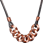 SALE Men's or Women's Heavy Copper Curb Link Chain on Black Leather Cord ...