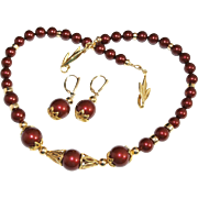 SALE Bordeaux Swarovski Crystal Pearls and Gold Necklace and Earring Set