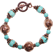 SALE Handcrafted Turquoise and Copper Bracelet