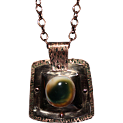 SALE Handcrafted Bronze and Copper Pendant with Cat's Eye Operculum Cabochon on Copper Chain