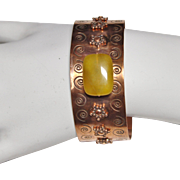 SALE Handcrafted Copper Cuff Bracelet with Yellow Agate