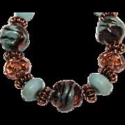 SALE Blue Green Raku, Lampwork and Amazonite with Copper bracelet