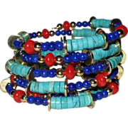 Lapis Lazuli, Turquoise and Coral Stacked Coil Bracelet