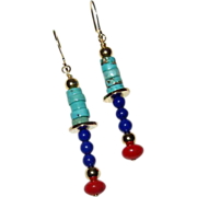 Lapis Lazuli, Coral and Turquoise Earrings