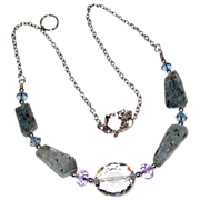 25% OFF Shimmering Kyanite With Color Changing Crystals Necklace