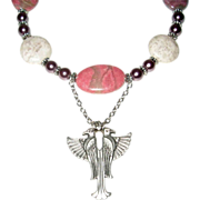'Horus' Pink Rhodonite And Gray Feldspar Horus Necklace