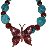 Copper Butterfly With Chinese Turquoise And Crystals Necklace
