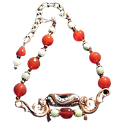 30% OFF 'Coachella' Lampwork Koi Carnelian & Green Aventurine Necklace