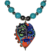 'Scary Dave' Raku Glass Handcrafted Pendant With Magnesite Beads