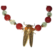 'Cicada' With Prehnite and Faceted Carnelian Beads Necklace