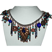 SALE 25% OFF Copper Fringe With Aqua Beads and Cobalt Crystals Necklace
