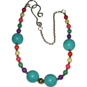 Colorful Agate And Magnesite Beaded Necklace