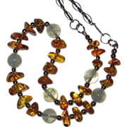 Genuine Amber Nuggets And Prehnite Beads Necklace