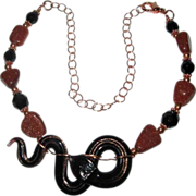 'Copper Head' Black Glass Snake With Copper Goldstone And Crystals Necklace