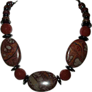Australian Noreena Jasper Carnelian And Hematite Necklace