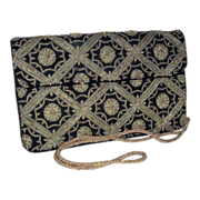 Embroidered Zardozi Style Evening Bag Gold & Silver Toned Metallic Thread