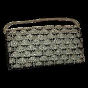 Embroidered Zardozi Style Evening Bag Silver Toned Metallic Thread On Velvet