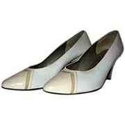 Sesto Meucci Bright White & Cream Patent Leather Heels Size 8 1/2B
