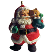 SALE 50% OFF 1990 Dated Hallmark Santa With Kitty in Stocking Christmas Ornament