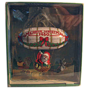 SALE 50% OFF 1980 Hallmark 'Santa's Flight' Pressed Tin Blimp Christmas Ornament Boxed