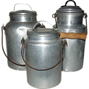 SOLD 20% OFF Milk Cans -Three - Lunch On The Job - Red Tag Sale Item