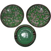 Three (3) Cloisonne Matching Pieces Ashtray Two Small Bowls China