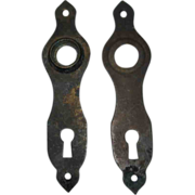 Matching Pair Door Knob Back Plates Solid Brass Art Deco