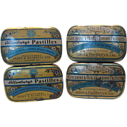Four (4) Allenburys Pastilles Tins Two Designs 1930's