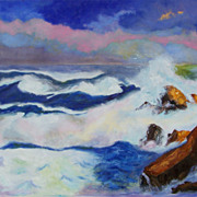 Gorgeous ocean oil painting on canvas by artist Fallini