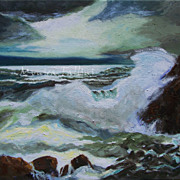 Captivating ocean moonlight oil painting on canvas by Fallini