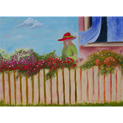 Girl in the garden oil painting on canvas by artist Fallini