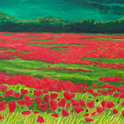 Red Poppies landscape oil painting on canvas by artist Fallini