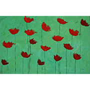 Red Poppies modern painting bright colors by Fallini