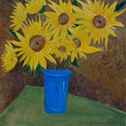 Sunflowers bouquet unique oil painting by contemporary artist Monica Fallini