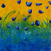 "Blue Poppies abstract landscape oil painting 40""x40"" modern art by contemporary artist Monica Fallini"