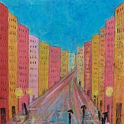 Urban art painting on canvas by artist Fallini