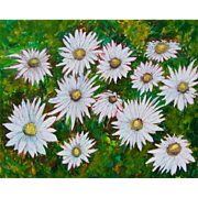 White Daisies painting on canvas by Monica Fallini
