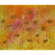 Gold Poppies beautiful colors acrylic painting modern art by contemporary artist Monica Fallin