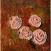 Pink Roses textured painting on canvas by Fallini